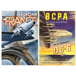 2 Airline Posters BCPA DC-6 Euroair France -Kungl