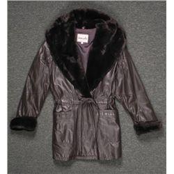 Donna Pelle Ladies Dark Brown Leather Coat w/Faux Fur M