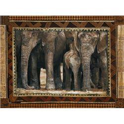 Rob Hefferan Elephants Metallic Foil Art Print