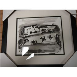 """WATERCOLAR ON  PAPER """"Bull Fight""""In the manner of Picasso ."""