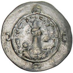 SASANIAN KINGDOM: Varahran VI, 590-591, AR drachm (3.94g), MY (Mishan), year 1