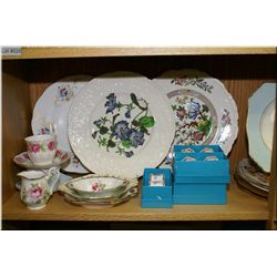 A selection of collectible china including Foley, Paragon, Royal Doulton, napkin rings, cups and sau