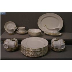A selection of Royal Albert Val D'or china including 10 dinner plates, cups and saucers, four  cerea