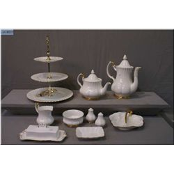 A selection of Royal Albert Val D'or china serving  pieces including tea and coffee pots, cream and