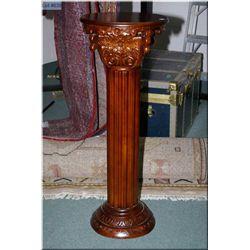 "Corinthian style mahogany display pedestal 41"" high"