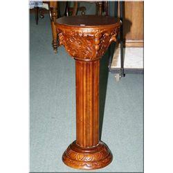 "Corinthian style mahogany display pedestal 36"" high"