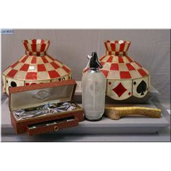 A pair of playing card motif lampshades, a horn, bridge board and a vintage boxed bar set plus a sel