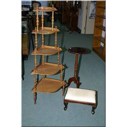 Multi tier modern oak corner display shelf, a  single pedestal wine table and a upholstered foot sto