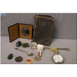 A selection of collectibles including small daguerreotype, a sterling spoon and pocket  watch, small