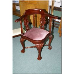 Chippendale style mahogany ball and claw corner chair