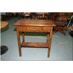 A vintage single drawer small desk with under bookshelf
