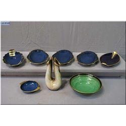 A selection of vintage hand painted Carltonware including Vert Royale dish and blue pin trays plus a
