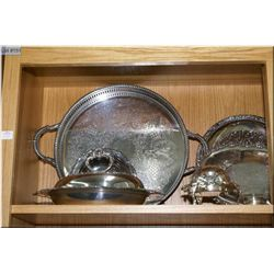 Large selection of silver plates including muffineer, trays, shakers, lidded vegetable, etc