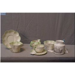 A selection of early Irish Belleek including a Neptune cups and saucer, two hexagon cups and a sauce