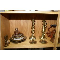 A selection of vintage brass and copper collectibles including candlesticks, kettle, large  brass va