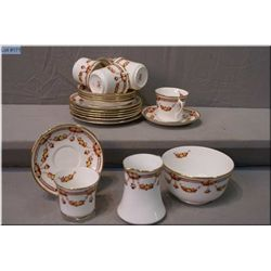 Six Royal Albert  Crown china teacups and saucers, with cream and open sugar bowl