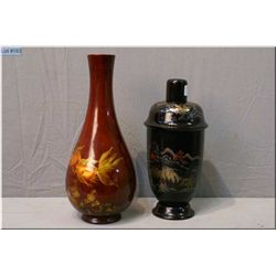 An Oriental vase and a vintage cocktail shaker