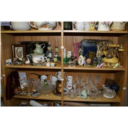 Selection of collectibles including Royal Albert, Irish porcelain, crystal, cabinet pieces, hand pai
