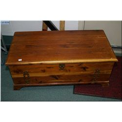 Solid cedar blanket box with decorative copper hardware