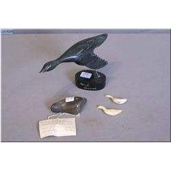 """A carved soapstone bird in flight and a """"Two  Birds"""" Repulse Bay and signed by artist"""