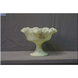 A Fenton satin glass comport with ruffled edge and hand painted floral details
