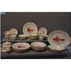 A selection of America the Beautiful motif dinnerware by Eggshell Nautilus including settings for ei