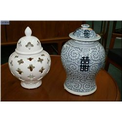 "Two ginger jars including blue and white glazed porcelain 17"" in height and a white ginger jar 16"" i"