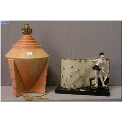 Two vintage table lamps including an Oriental figural lamp and a Deco style glazed pottery lamp