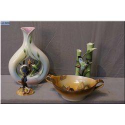 Two Franz bird motif porcelain vases, a Royal Crown Derby Blue Tit figurine and a vintage  Noritake