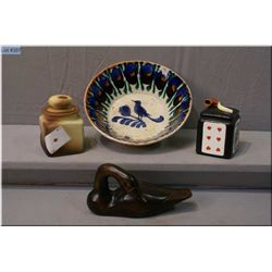 A pair of vintage cigar humidors, a carved wooden duck and an antique semi-porcelain glazed dish