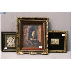 Three vintage framed prints including shadowbox of a young girl in window, Baxter style print and a
