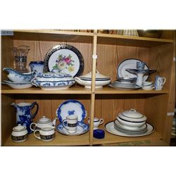 Selection of collectibles including lidded servers, comport, gravy boat, pitcher, dinner  plates, vi