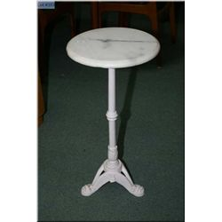 Wrought iron and marble single pedestal occasional  table