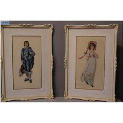 Two framed petit-points depicting Gainsboroughs Pinky and Blue Boy