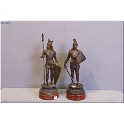 """Two vintage Spelter figures, Lohengrin and friend 16"""" in height"""