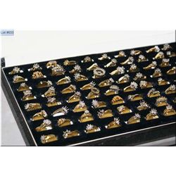 A case of Jeweller's brass ring samples, 96 count