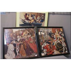 Three framed prints including two Elizabethan court scenes and cats fishing in a boat