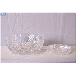 A signed Waterford crystal fruit bowl and a signed Waterford crystal wine trivet