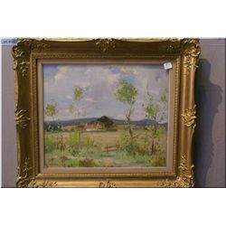 """A frame oil on board painting """"Summer Landscape""""  by Scottish artist John Guthrie Spence Smith 14  1"""