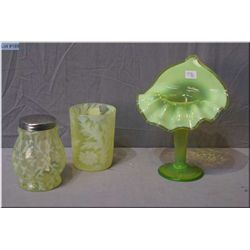 A vintage Daisy and Fern opalescent Uranium glass tumbler and a Uranium glass opalescent and canary