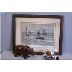 A vintage framed engraving of ships in rough water plus a ship in a bottle and a carved hardwood car