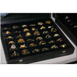 Two boxes of Jeweller's brass ring samples, 60 count