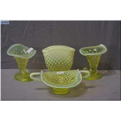 A selection of vintage Fenton hobnail Uranium glass including canary and opalescent cornucopia style