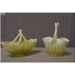 Two  vintage yellow vaseline Uranium glass baskets with opalescent edges