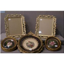 Selection of framed collectibles including pair of framed florals, petitpoint floral and two picture