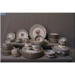 A Royal Bayreuth dinner service for eight including dinner plates, side plates, bread and  butter, l