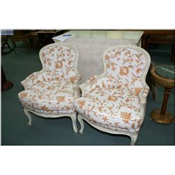 Two crewel work upholstered parlour chairs with cabriole feet to match lot 361
