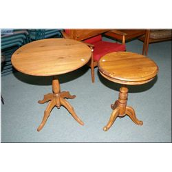 A pair of vintage drum style end table with single doors
