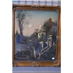 A framed pastel on board picture featuring a  medievel structure signed by artist A.C. Guernsay  23