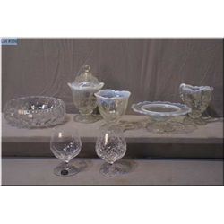 Selection of vintage glassware including opalescent cream and sugar, vase and dish, crystal fruit bo